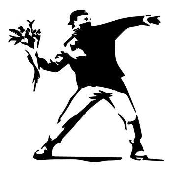 Sticker Banksy -  Rage Fleurs
