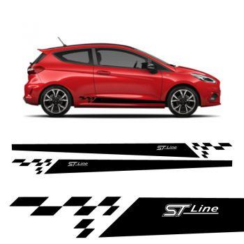 Kit Stickers Bandes Bas de Caisse Ford Fiesta ST-Line (2017/2018) 3 Portes