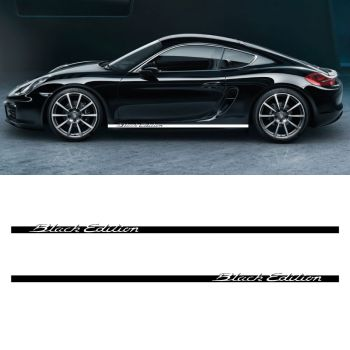 Car Side Stripes Decals Set Porsche Cayman Black Edition