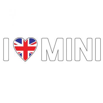 I Love Mini English Flag Color Decal