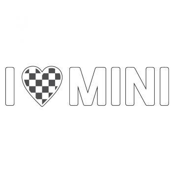 I Love Mini Checkered Flag Decal