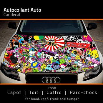 Sticker Capot Auto Eat Sleep JDM
