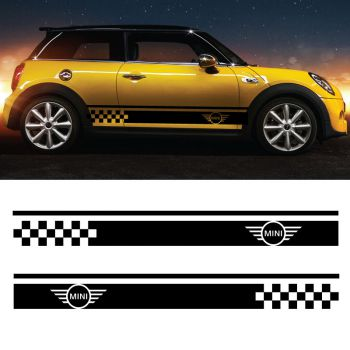 Kit Stickers Bandes Mini Cooper Logo Damiers
