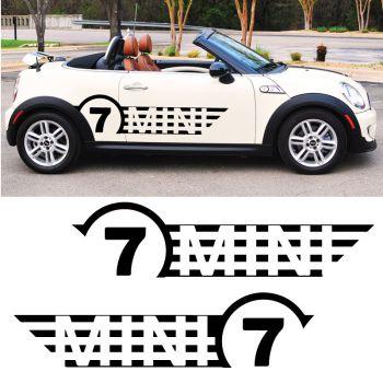 Mini Cooper No. 7 Back, set of 2 stripes decals
