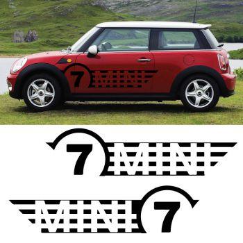 Mini Cooper No. 7 Front, set of 2 stripes decals