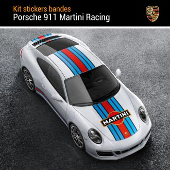 Porsche 911 Martini Racing Stripes Decals Set