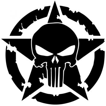US ARMY STAR Punisher Holes Decal