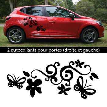 Car Side Renault Clio 2018 Flowers Decals set