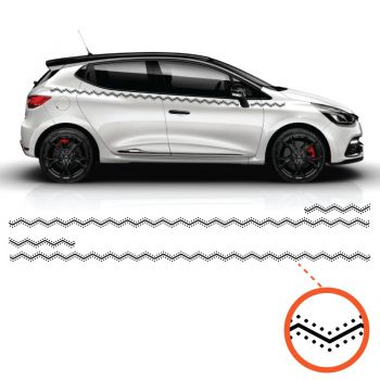 Car Side Renault Clio Zig-Zag Ornament Decals Set