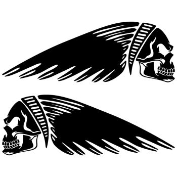 Set of 2 Motorcycle Tank Decals Indian Skull
