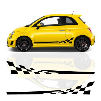 Kit Stickers Bandes Fiat Abarth 500 - 595 Damiers Sportifs