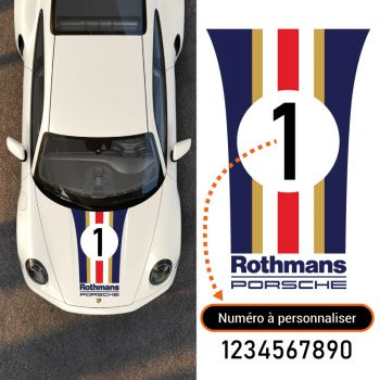 Porsche Rothmans Car Hood Strip Decal