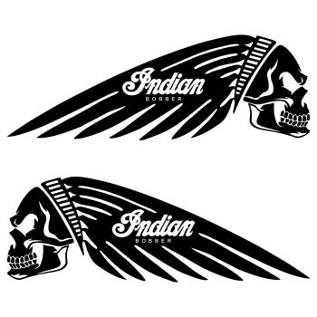 Kit of 2 Indian Bobber Skull Motorcycle Fuel Tank Decals