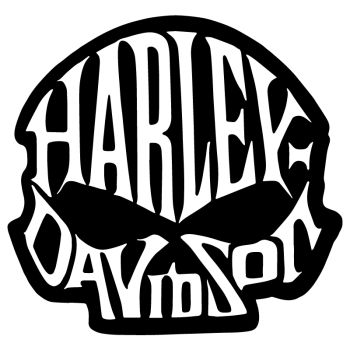 Harley-Davidson Skull Lettering Sticker