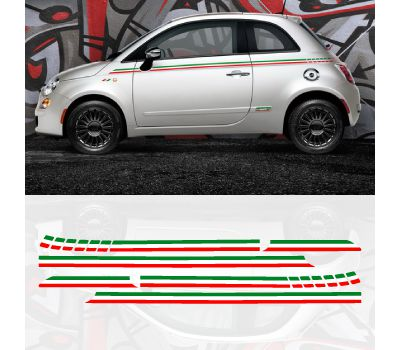 Fiat 500 italian side stripes decal set
