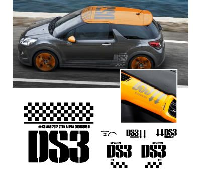kit stickers citro n ds3 racing complet 2012. Black Bedroom Furniture Sets. Home Design Ideas