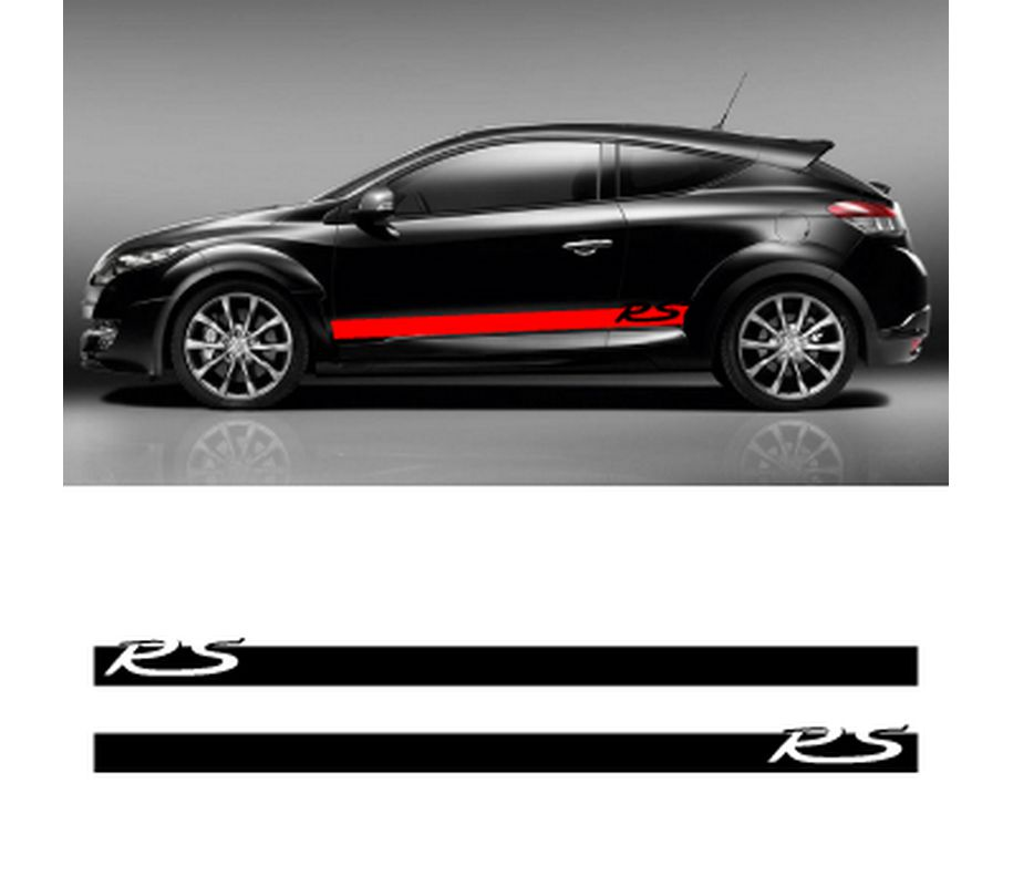 kit stickers bandes bas de caisse renault megane rs. Black Bedroom Furniture Sets. Home Design Ideas